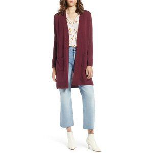 NWT Halogen Wool & Cashmere Long Cardigan Burgundy